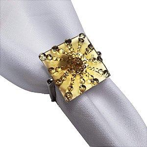 Porta Guardanapo Luxo Dourado - 4 unds