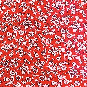 Kit 4 Guardanapos de Tecido Algodão Floradinha Vermelho 32cmx32cm