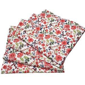 Kit 4 Guardanapos de Tecido Algodão Floral Amélia 32cmx32cm