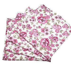 Kit 4 Guardanapos de Tecido Algodão Floral Amalia 32cmx32cm