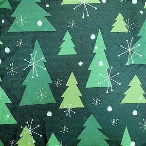 Kit 4 Guardanapos de Tecido Árvore de Natal Verde 40cmx40cm