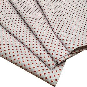 Kit 4 Guardanapos de Tecido Bolinha Branco Vermelho Algodão 39cmx39cm