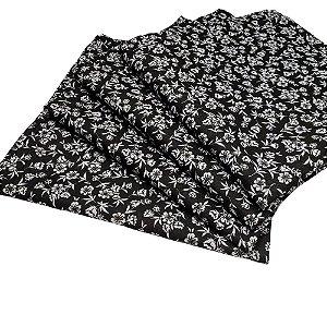 Kit 4 Guardanapos de Tecido Floral Black Algodão 39cmx39cm