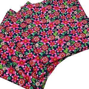 Kit 4 Guardanapos de Tecido Floral Vibe Algodão 39cmx39cm