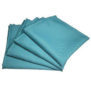 Kit 4 Guardanapos de Tecido Oxford Azul Turquesa 40cmx40cm
