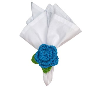 Kit 4 Porta Guardanapos Croche Botão Rosa Mimosa Azul Turquesa
