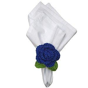 Kit 4 Porta Guardanapos Croche Botão Rosa Mimosa Azul Royal