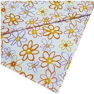 Trilho de Mesa Floral Charlô Laranja e Lilás 45cmx1,50cm