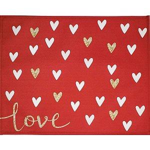 Kit 4 Jogos Americanos Love Corações Vermelho 43CMX34CM