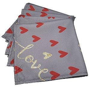 Kit 4 Guardanapos de Tecido Coração Love Cinza 40cmx40cm