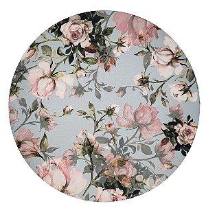 Kit 4 Capas para Sousplat Floral Vintage Cinza 35cmx35cm