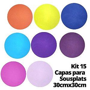 Kit 15 Capas para Sousplat Cores Sortidas 30cmx30cm