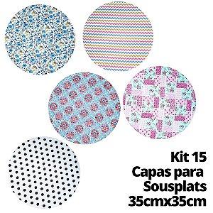 Kit 15 Capas para Sousplat Estampas Sortidas 35cmx35cm