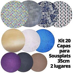 Kit 20 Capas para Sousplat Estampas Sortidas 35cmx35cm