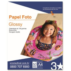 Papel Glossy A4 50 Folhas 180Gr