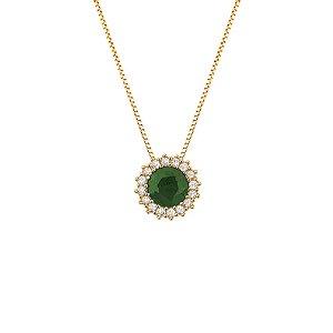 Gargantilha Ouro Esmeralda Redonda com Diamantes