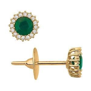 Brinco Ouro Redondo Esmeralda com Diamantes