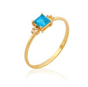 Anel Ouro Topázio Azul e Branco