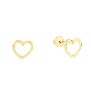 Brinco Ouro Coração Vazado Press Baby