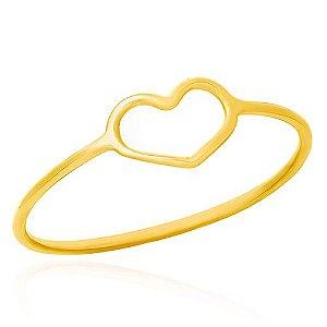 Anel Ouro Coração Vazado