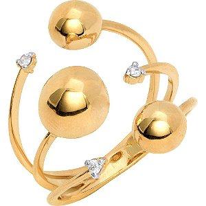 Anel Ouro 3 Bolas com Diamantes