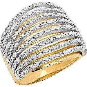 Anel Ouro 8 Fios com Diamantes