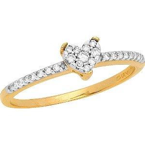 Anel Ouro Coração com Diamantes