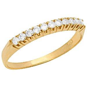 Anel Ouro Meia Diamantes