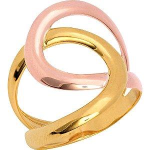 Anel Ouro Sinuoso Bicolor M