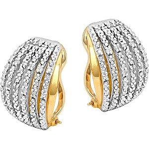 Brinco Ouro Argola Trava 6 Fios com Diamantes