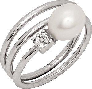 Anel Ouro Branco Pérola com Diamantes