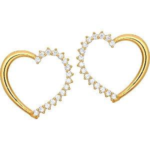 Brinco Ouro Coração com Zircônia