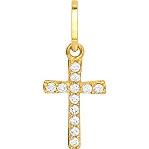 Pingente Ouro Cruz Mini com Zircônia