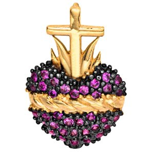 Pingente Ouro Sagrado Coração De Jesus Com Zirconia