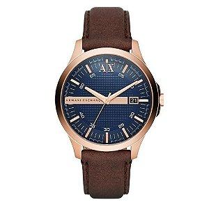 Relógio Armani Masculino Rosê Pulseira Couro
