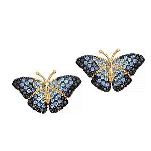 Brinco Ouro Borboleta Azul Zirconia