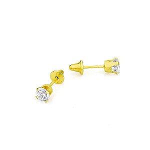Brinco Ouro Calice Zirconia 3Mm Press Baby