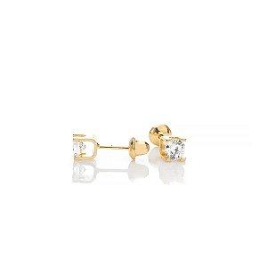 Brinco Ouro Cartier Zirconia 3.5Mm Press Baby
