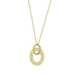 Gargantilha Ouro Argola Dupla Diamante