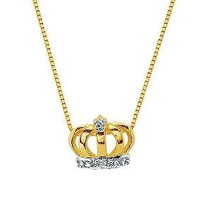 Gargantilha Ouro Coroa 8 Diamantes