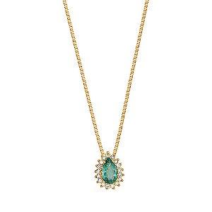 Gargantilha Ouro Gota Esmeralda Diamante