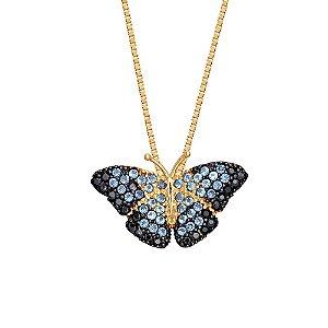 Pingente Ouro Borboleta Zirconia Azul
