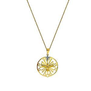 Pingente Ouro Mandala Divino Cruz Diamantes