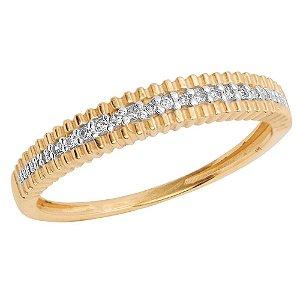 Anel Ouro Aparador 15 Diamantes