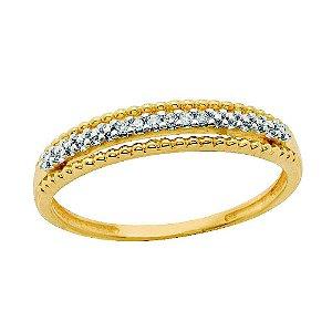 Anel Ouro Aparador Bolinhas Diamantes