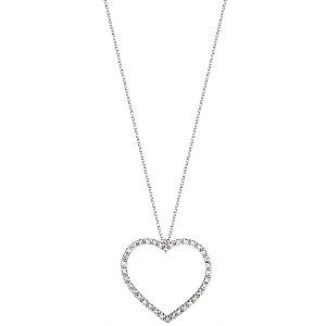 Gargantilha Ouro Branco Coração com Diamantes