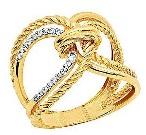 Anel Ouro Aros Cruzados Diamante