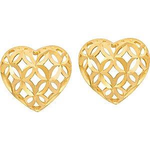 Brinco Ouro Coração Vazado