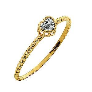 Anel Ouro Coração Diamantes Aro Bolinha