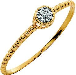 Anel Ouro Redondo Diamantes Aro Bolinha